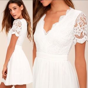 Lulu's Dresses - Lulus Angel in Disguise White Lace Skater Dress